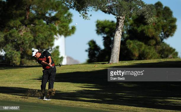 Stephen Ames of Canada hits a shot to the first hole during the first round of the Shriners Hospitals for Children Open at TPC Summerlin on October...