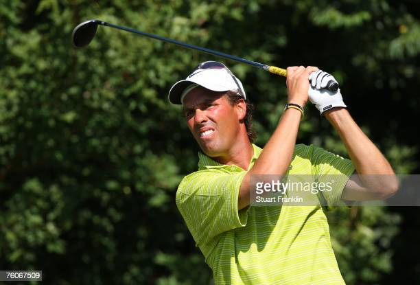 Stephen Ames of Canada hits a tee shot during the final round of the 89th PGA Championship at the Southern Hills Country Club on August 12 2007 in...
