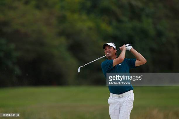 Stephen Ames of Canada hits his second shot on the 15th hole during the first round of the Puerto Rico Open presented by seepuertoricocom held at...