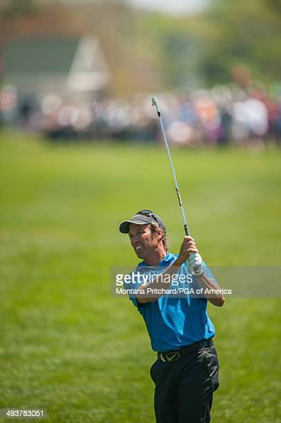 Stephen Ames of Canada hits his shot on the first hole during the Final Round for the 75th Senior PGA Championship presented by KitchenAid held at...