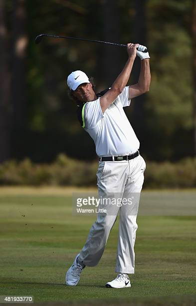 Stephen Ames of Canada in action during the third round of The Senior Open Championship on the Old Course at Sunningdale Golf Club on July 25 2015 in...