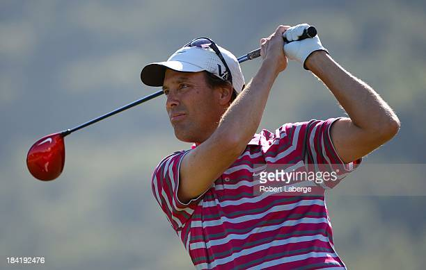 Stephen Ames of Canada makes a tee shot on the ninth hole during round two of the Fryscom Open at the CordeValle Golf Club on October 11 2013 in San...