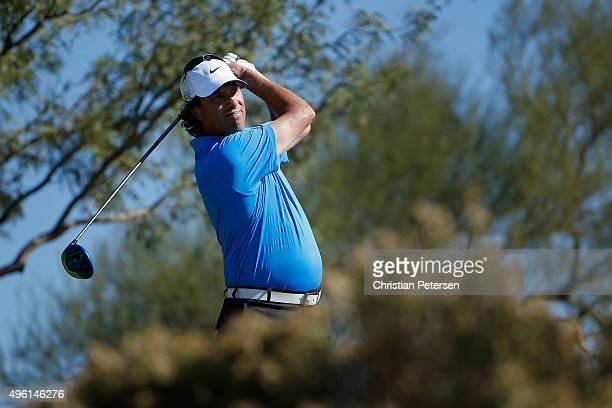 Stephen Ames of Canada plays a tee shot on the third hole during the third round of the Charles Schwab Cup Championship on the Cochise Course at The...