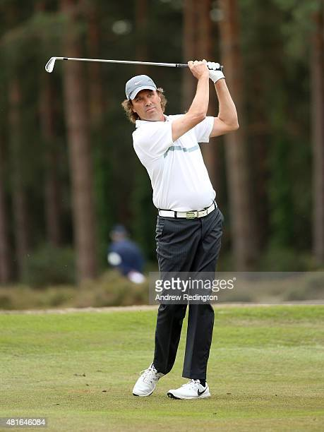 Stephen Ames of Canada plays his second shot on the second hole during the first round of The Senior Open Championship at Sunningdale Golf Club on...