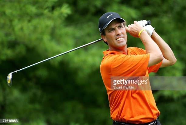 Stephen Ames of Canada plays his tee shot on the ninth hole during practice for the 2006 PGA Championship at Medinah Country Club on August 14 2006...