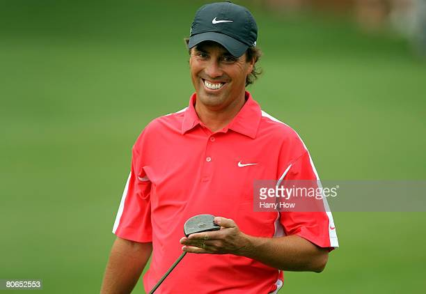 Stephen Ames of Canada reacts to his putt on the second green during the third round of the 2008 Masters Tournament at Augusta National Golf Club on...