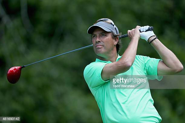 Stephen Ames of Canada tees off on the sixth hole during the second round of the Greenbrier Classic at the Old White TPC on July 4 2014 in White...