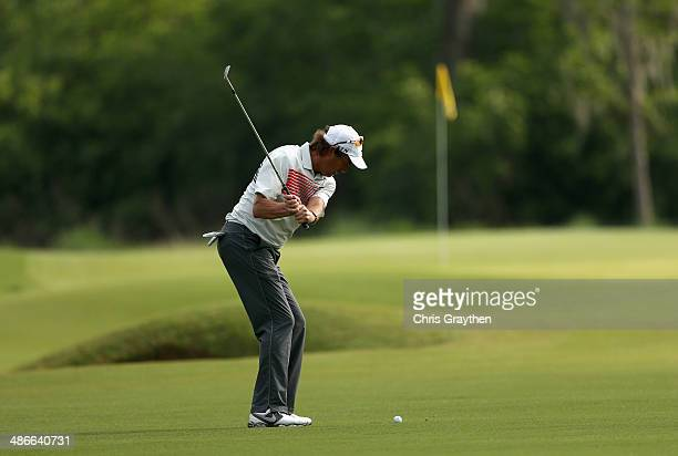 Stephen Ames takes his shot on the 2nd during Round Two of the Zurich Classic of New Orleans at TPC Louisiana on April 25 2014 in Avondale Louisiana