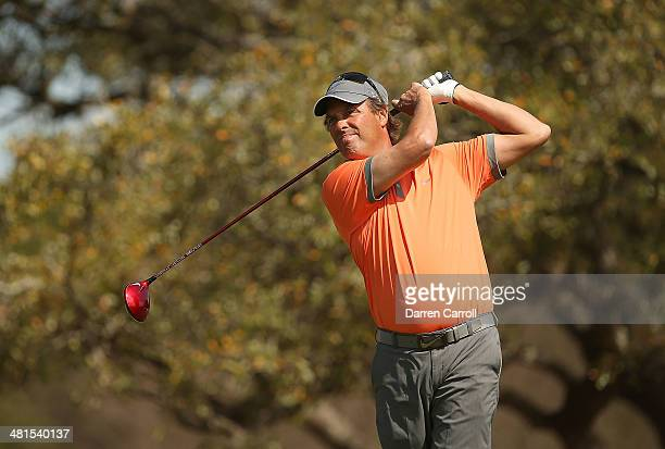 Stephen Ames tees off on the 2nd during the Final Round of the Valero Texas Open at TPC San Antonio ATT Oaks Course on March 30 2014 in San Antonio...