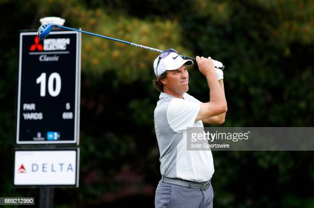 Stephen Ames tees off the 10th hole during the final round of the Mitsubishi Electric Classic tournament at the TPC Sugarloaf Golf Club Sunday April...