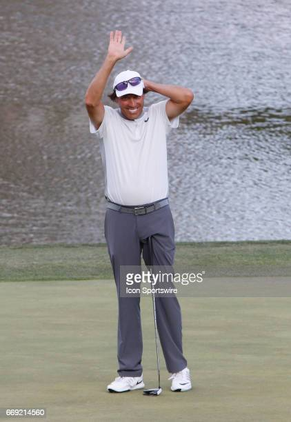 Stephen Ames waves to the fan gallery after winning the 2017 Mitsubishi Electric Classic golf tournament at the TPC Sugarloaf Golf Club Sunday April...