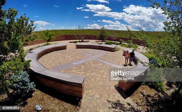 Stephen and Cheyenne Izaguirre from Austin Texas visit the Columbine Memorial located near Columbine High School July 22 2016 Columbine is the site...