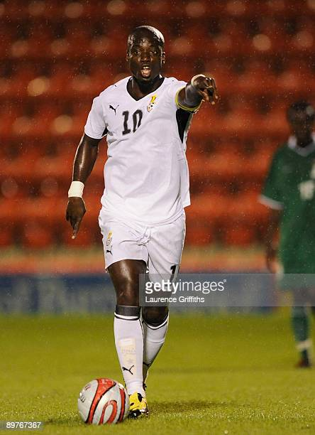 Stephen Appiah of Zambiain action before the International Friendly match between Ghana and Zambia at Brisbane Road on August 12 2009 in London...