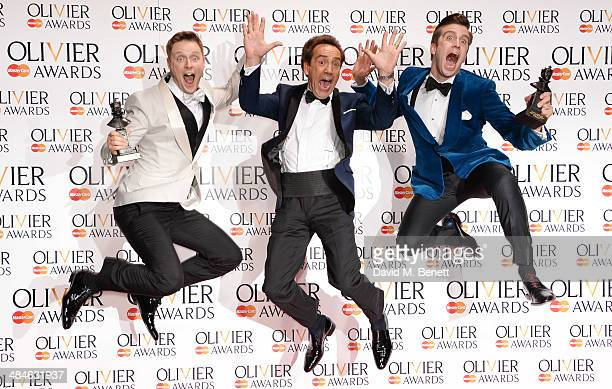 Stephen Ashfield winner of the Best Performance in a Supporting Role in a Musical for 'The Book Of Mormon' Robert Lindsay and Gavin Creel winner of...