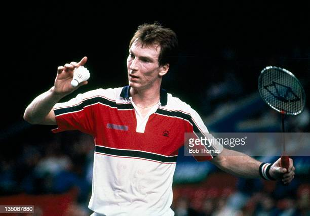Stephen Baddeley of England in action during the All England Badminton Championships at Wembley Arena in London circa 1985