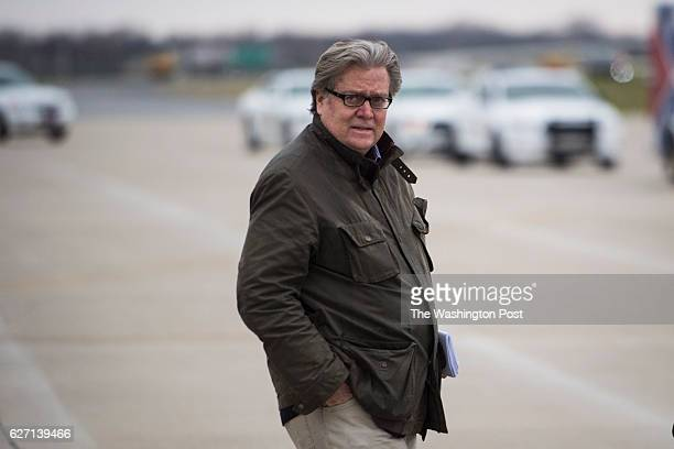 Stephen Bannon disembarks Presidentelect Donald Trump's plane as they make their way to Carrier Corporation in Indianapolis IN on Thursday Dec 01 2016