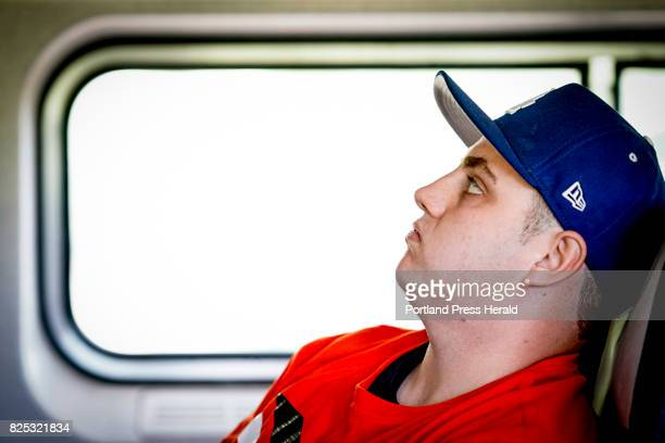 Stephen Barber of Westbrook a heroin addict waits anxiously while on the Amtrak Downeaster headed for Haverhill Mass where he would enter a...