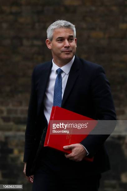 Stephen Barclay UK exiting the European Union secretary arrives for a weekly meeting of cabinet ministers at number 10 Downing Street in London UK on...