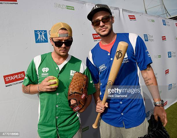 Stephen Barker Liles and Eric Gunderson step up to strike out cancer at the 25th Annual City of Hope Celebrity Softball Game 2015 at First Tennessee...