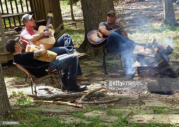 Stephen Barker Liles Eric Gunderson and Trent Tomlinson attend Country Rock Group Love And Theft Cabin Fever Writing Sessions on April 21 2015 in...