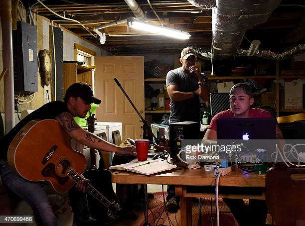 Stephen Barker Liles Trent Tomlinson and Eric Gunderson attend Country Rock Group Love And Theft Cabin Fever Writing Sessions on April 21 2015 in...