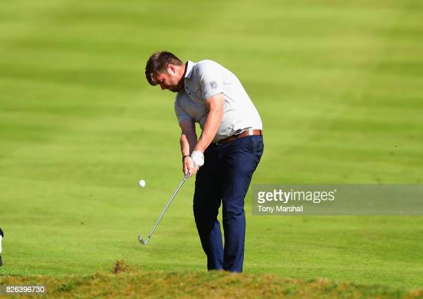 Stephen Barry of Royal Tara Golf Club plays his second shot on the 1st fairway during Day Three of the Galvin Green PGA Assistants' Championship at...