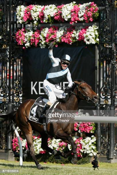 Stephen Baster rides Pinot to win race 8 the Kennedy Oaks on 2017 Oaks Day at Flemington Racecourse on November 9 2017 in Melbourne Australia