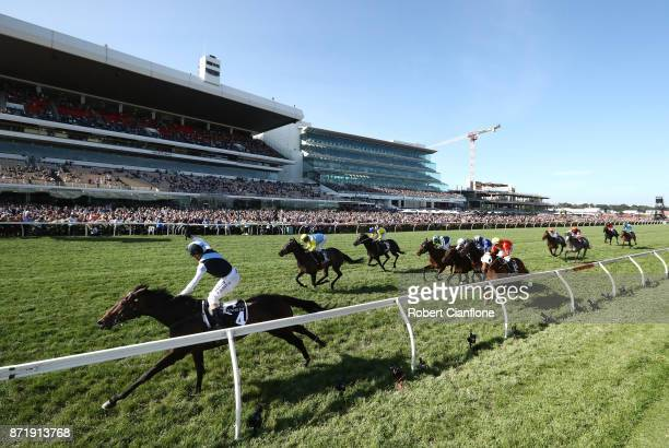 Stephen Baster rides Pinot to win race eight the Kennedy Oaks on 2017 Oaks Day at Flemington Racecourse on November 9 2017 in Melbourne Australia