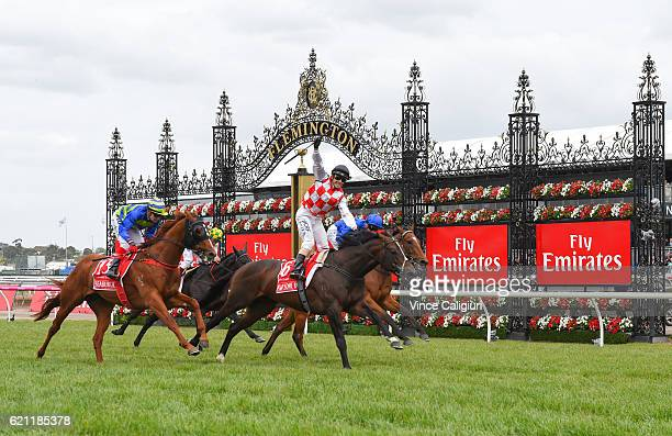 Stephen Baster riding Awesome Rock defeats Seaburge and Hauraki in Race 7 Emirates Stakes on Stakes Day at Flemington Racecourse on November 5 2016...