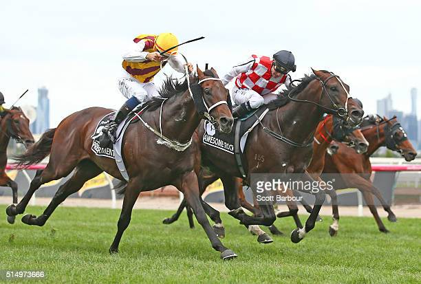 Stephen Baster riding Awesome Rock wins race 7 during the Australian Cup ahead of Hugh Bowman riding Preferment but Awesome Rock lost after a protest...