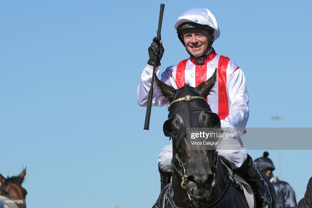 Stephen Baster riding Ferlax after winning the Australian Guineas during Melbourne Racing at Flemington Racecourse on March 2, 2013 in Melbourne, Australia.