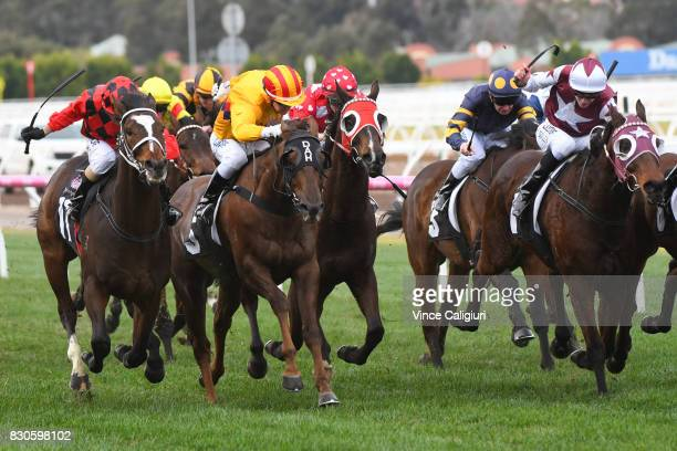Stephen Baster riding Jaminzah wins Race 4 during Melbourne Racing at Flemington Racecourse on August 12 2017 in Melbourne Australia