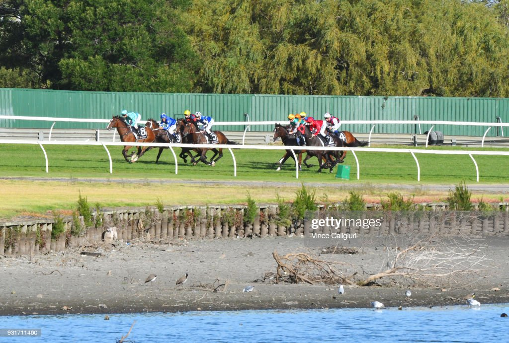 Stephen Baster riding Scholarly leads around the back straight before winning Race 6 during Melbourne Racing at Sandown on March 14, 2018 in Melbourne, Australia.