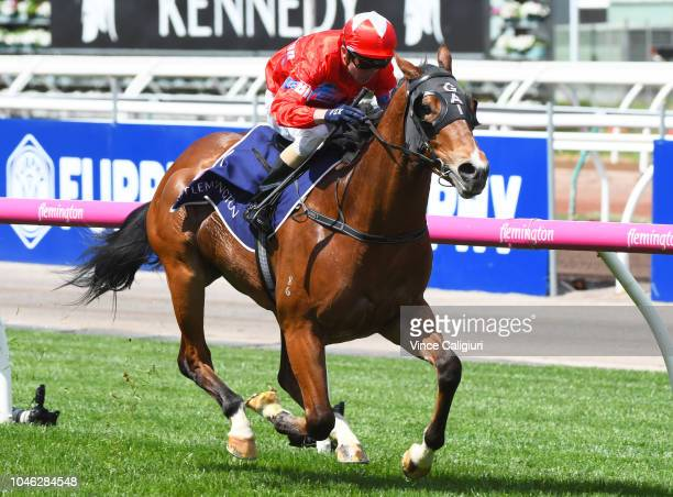 Stephen Baster riding Unite and Conquer winning Race 1 Maribyrnong Trial Stakes during Melbourne Racing at Flemington Racecourse on October 6 2018 in...
