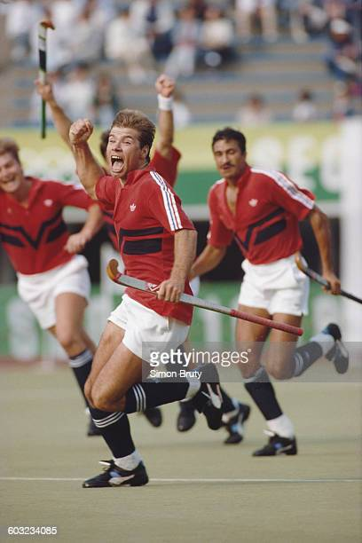 Stephen Batchelor of Great Britain celebrates after defeating Germany 31 in the Men's Field Hockey final at the XXIV Summer Olympic Games on 1st...