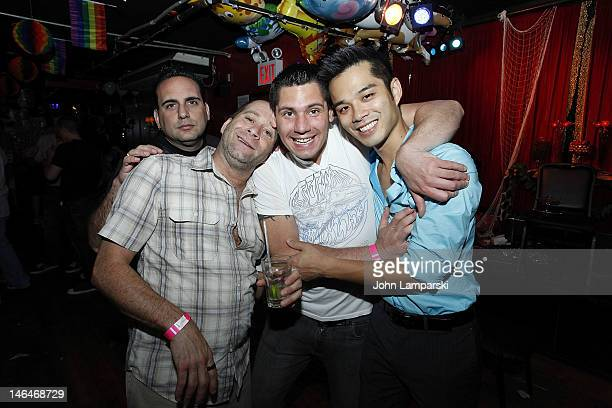 Stephen Battista Alex Carr and Marc Vallitutto attends Alex Carr's birthday celebration at The Stonewall Inn on June 16 2012 in New York City