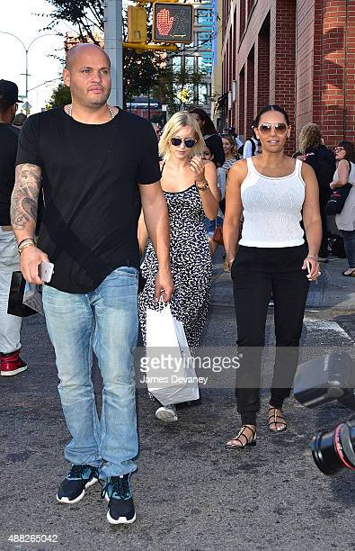 Stephen Belafonte and Mel B with nanny Lorraine Gilles seen on the streets of Manhattan on September 14 2015 in New York City