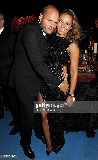 Stephen Belafonte and Melanie Brown attend an after party celebrating the Gala Press Night performance of 'Viva Forever' at Victoria Embankment...
