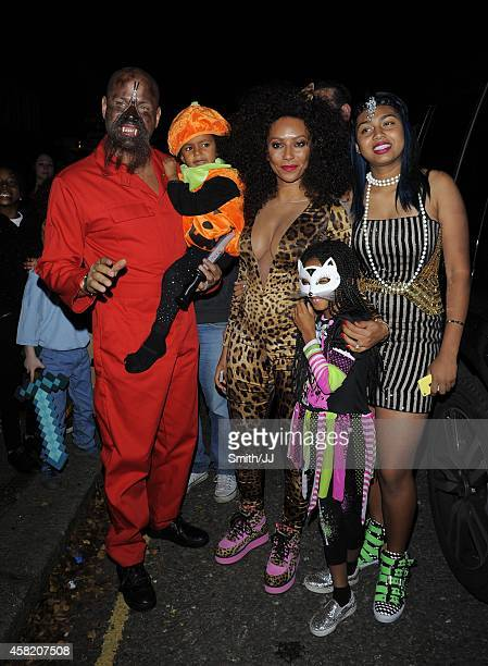 Stephen Belafonte and Melanie Brown seen arriving at Jonathan Ross' annual Halloween party October 31 2014 in London England