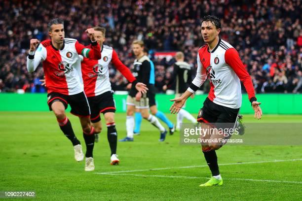 Stephen Berghuis of Feyenoord celebrates scoring his side's second goal during the Eredivisie match between Feyenoord and Ajax at De Kuip on January...