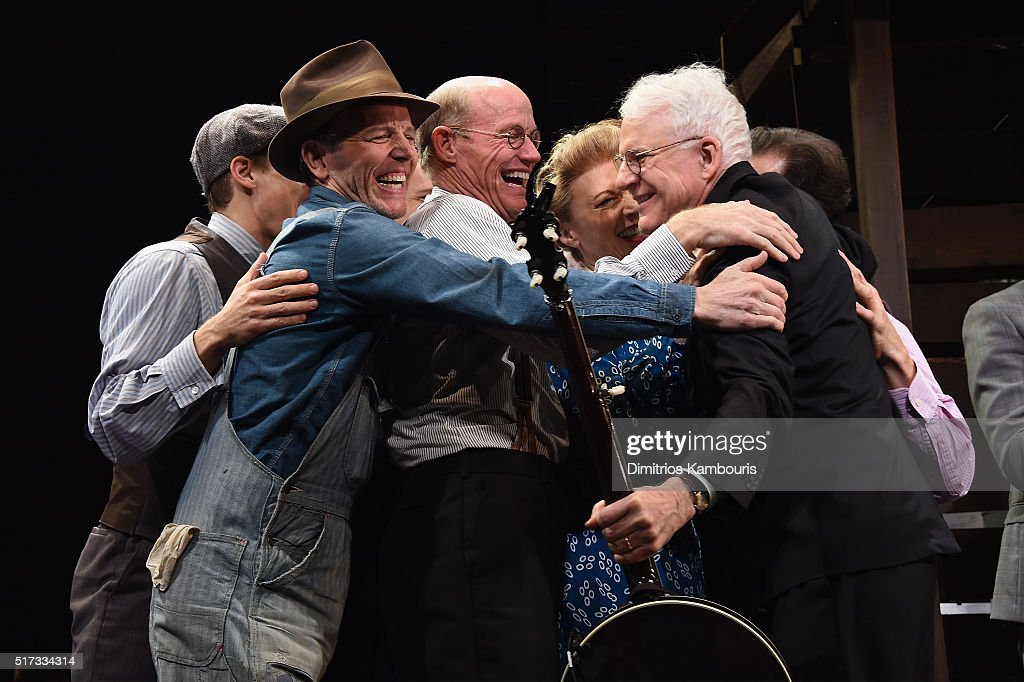 Stephen Bogardus, Stephen Lee Anderson, Dee Hoty, Steve Martin and other cast embrace during 'Bright Star' Opening Night on Broadway Curtain Call at The Cort Theatre on March 24, 2016 in New York City.