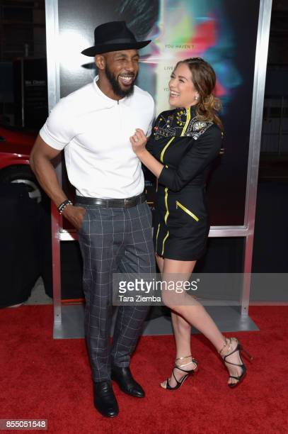 Stephen Boss and Allison Holker attend the premiere of Columbia Pictures' 'Flatliners' at The Theatre at Ace Hotel on September 27 2017 in Los...