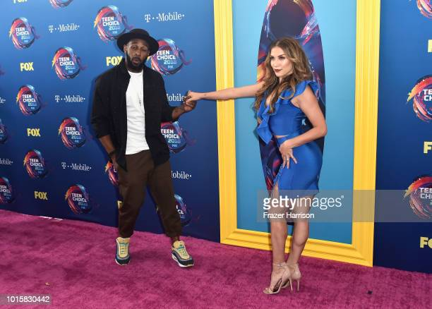 Stephen Boss and Allison Holker attends FOX's Teen Choice Awards at The Forum on August 12 2018 in Inglewood California