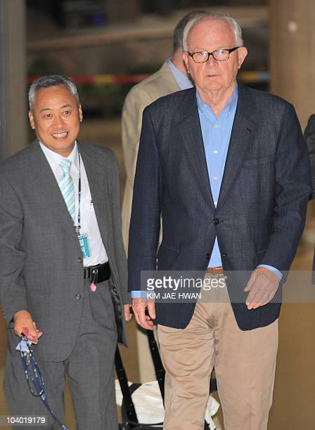 Stephen Bosworth US special representative for North Korea policy arrives at Incheon International Airport on September 12 2010 Bosworth Washington's...