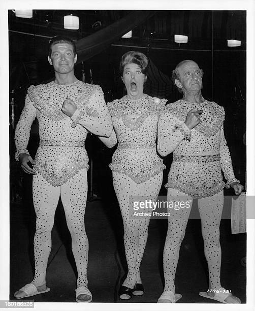Stephen Boyd Martha Raye and Jimmy Durante show off their costumes in between takes of the film 'Jumbo' 1962