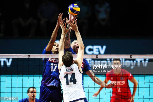Stephen BOYER and Kevin LE ROUX of France during the EuroVolley Quarter final match between France and Italy on September 24 2019 in Nantes France