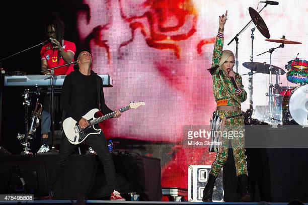 Stephen Bradley Tom Dumont and Gwen Stefani of No Doubt perform at Bottle Rock festival at Napa Valley Expo on May 31 2015 in Napa California