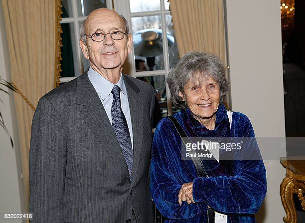 Stephen Breyer , Associate Justice of the Supreme Court of the United States, and Joanna Breyer attend an Afternoon Tea hosted by the British Embassy...