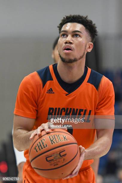 Stephen Brown of the Bucknell Bison takes a foul shot during a college basketball game against the American University Eagles at Bender Arena on...