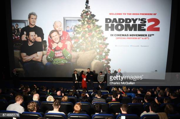 Stephen Bryne Lucy Kennedy Will Ferrell Mark Wahlberg Mel Gibson and John Lithgow attends the Irish premiere of 'Daddy's Home 2' Odeon Cinema on...